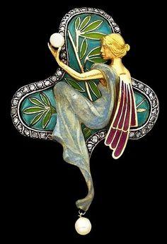 Art Nouveau enamel, diamond-set and pearl pendant / brooch by Luis Masirera.