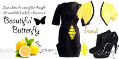 black and yellow New Fashion, Fashion Outfits, Beautiful Butterflies, Black N Yellow, It Works, Butterfly, Clothes, Women, Dresses