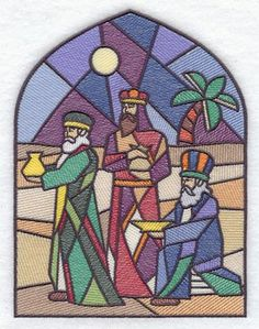 Nativity Stained Glass Coloring Pages Three Wise Men