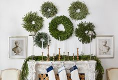 Make It MerryTransform the mantel into a festive focal point with this collection of seasonal accents, from frames and flowers to stocking holders and votives. Then cozy up and enjoy the warm and welcoming glow.