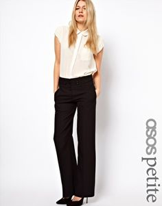 Buy ASOS Collection Women's Black Wide Leg Pants with Tab. Professional Outfits, Professional Women, Black Wide Leg Trousers, Wide Legs, Relaxed Outfit, Asos Petite, Free Clothes, Work Clothes, Work Looks