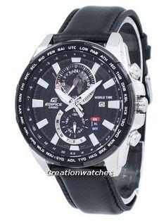 Casio Edifice World Time Quartz Men's Watch Used Watches, Watches For Men, Casio Edifice, Countdown Timer, Online Watch Store, Watch Model, Casio G Shock, Black Crystals, Casio Watch