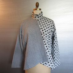 black & white points shirt in Japanese cotton ikats