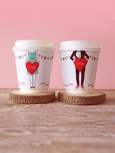 diy je t'aime coffee cup wrappers