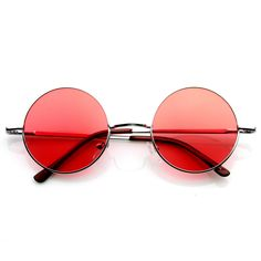 These classic round metal sunglasses are inspired by the legendary John Lennon and feature color tinted lenses. Made with a metal based frame, metal hinges, and colored polycarbonate Lens. Measurement