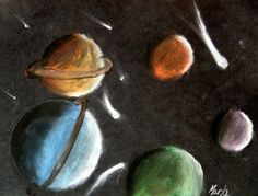 Chalk drawing of spheres- planets