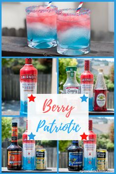 Patriotic Berry Patriotic is made with Smirnoff Red, White & Berry vodka. Perfect cocktail for any patriotic celebration!Berry Patriotic is made with Smirnoff Red, White & Berry vodka. Perfect cocktail for any patriotic celebration! Liquor Drinks, Vodka Drinks, Fun Drinks, Mixed Drinks, Layered Drinks, Vodka Lemonade, Vodka Martini, Blue Cocktails, Martinis