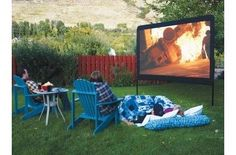 Camp Chef Outdoor Movie Screen -  by Cabela's.  Great for rooftop viewing in the city or beach viewing on vacation