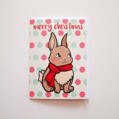 Merry Christmas ~ Christmas Rabbit Blank Message Greeting Card with white envelope