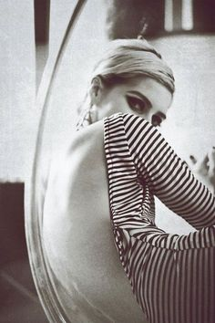 Edie Sedgwick in her backless stripe leotard