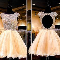 Open back homecoming dress, short sleeve homecoming dress, 2016 homecoming dress, short prom dress, short homecoming dress, 17389