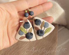Triangular dangle earrings Blueberries - Large earrings - Polymer clay earrings - Berries- Blue Ivory earrings - Summer jewelry