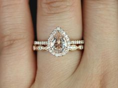 Tabitha 8x6mm & Christie Band 14kt Rose Gold Pear by RosadosBox