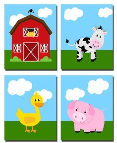 Farm Animals Cow Duck Pig Barn Nursery Playroom Room by kjhdesigns, $18.00