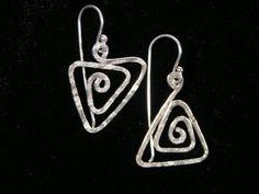 Spiral+Geometry+Triangle+Earrings+Sterling+Silver+by+silvervine,+$35.00
