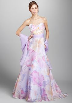 I picture this as a wedding gown - the bridesmaids dress in white. The colors draw your eyes to the bride. . .just a thought.