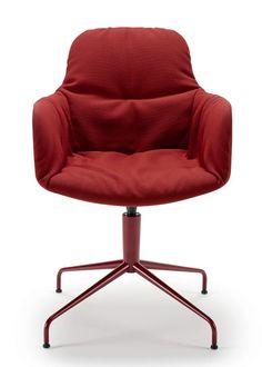 Fabric easy #chair with 4-spoke base LEYA ARMCHAIR HIGH by FREIFRAU GmbH | #design Birgit Hoffmann, Christoph Kahleyss #red