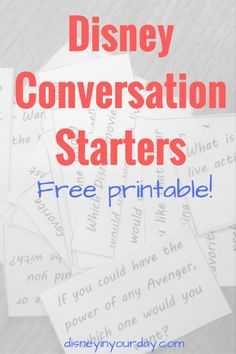 Disney Conversation Starters - free printable!  Download and print these conversation starter questions for your next party, date night, or just for a fun time around the dinner table! Disney in your Day