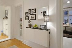 For long hallway, wall cabinet