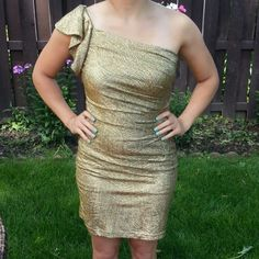 Selling this Hailey Gold One-Shoulder Party Dress in my Poshmark closet! My username is: conbon811. #shopmycloset #poshmark #fashion #shopping #style #forsale #Dresses & Skirts