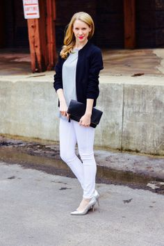 House of Charms Blog // Spring Fashion // Black and White // Silver heels // white jeans // neutral shades