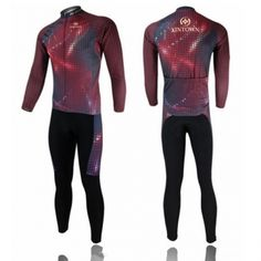 Men Spring Autumn Riding Jersey And Siamese Pants Set Pad Flash Red Size S - XXL From 50,- for Euro 27,90