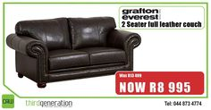 Save at This Grafton Everest 2 seater full leather couch was now ONLY Hurry down today. Prices valid until 22 September 2016 or while stocks last. E&OE. Chesterfield Chair, Love Seat, Beds, Accent Chairs, September, Couch, Leather, Home Decor, Upholstered Chairs