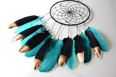 Boho Teal Dream Catcher Feather Dream Catcher Birthday Gift
