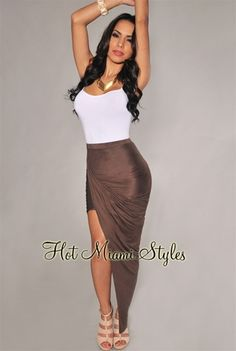 Coco Faux Suede Ruched Asymmetrical Draped Skirt