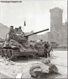 Soviet T-34 tank on the streets of Prague. May 1945.