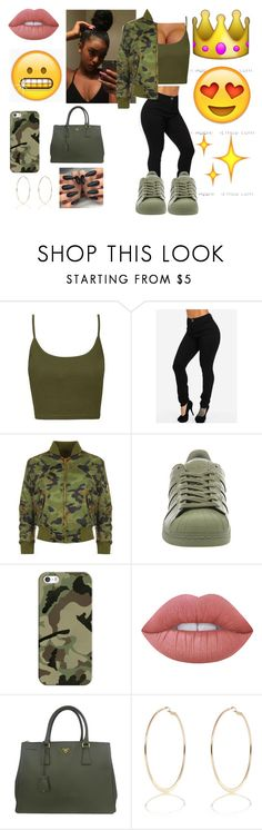 """""""Untitled #35"""" by queenag123 ❤ liked on Polyvore featuring Topshop, WearAll, adidas, Casetify, Lime Crime, Prada and River Island"""