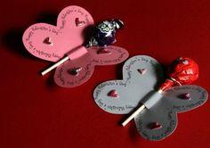 Butterfly Valentines With Sucker. Valentines Days Ideas