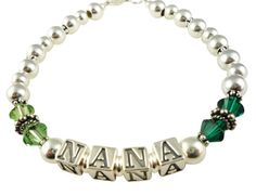 Green crystal Nana or Grandma Bracelet  choose by NameBracelets