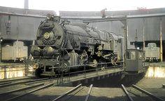PRR ... Pennsylvania Railroad 2-10-0 Decapod, I1 class, steam locomotive # 4314, is seen on a roundhouse turntable at East Altoona, Pennsylvania, September 16, 1955, John Dziobko Jr. Photo
