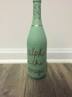 Alpha Chi Omega painted wine bottle sorority craft