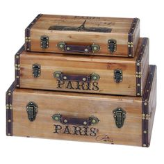 Wood Trunk (Set of 3) - Overstock™ Shopping - Big Discounts on Decorative Trunks