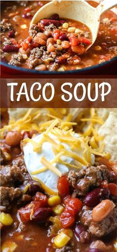 Easy stovetop Taco Soup with Ranch and Taco seasoning is ready in 30 minutes. This 6 can Taco Soup uses Ro-Tel, Chili Beans and Corn. A hearty taco flavored soup seasoned with ranch. Easy Soup Recipes, Beef Recipes, Cooking Recipes, Cooking Icon, Cooking Fish, Corn Recipes, Supper Recipes, Chicken Soup Recipes, Cooking Salmon