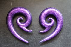 HEY PINTEREST FOLK, know anyone with stretched ears? Send 'em here ;)   http://www.etsy.com/listing/97183027/00g-purple-glitter-plugs   I'll love you forever. #plugs #gauges #stretched #ears #polymer #00g