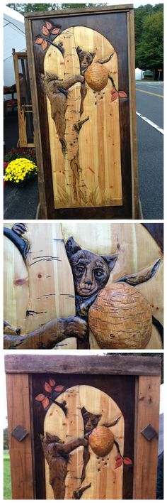Honey bear carved door