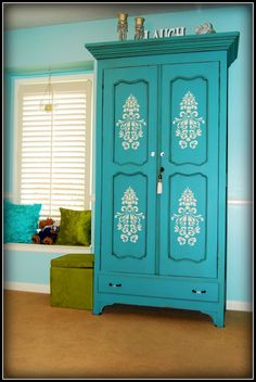 Hand Painted Turquoise Armoire With Damask Stencil.