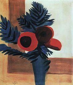 1910 Красные цветы. К., т. 39х33.5 Ташкент - Сарьян Мартирос Сергеевич