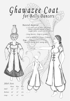 Belly dancers like the coat cut to reveal fancy bras or choli tops, rather than the more modest v-neck. But this sketch shows how the back is also split, made in panels, like the front.