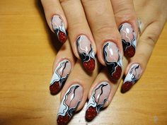 Fancy red, white and black manicure