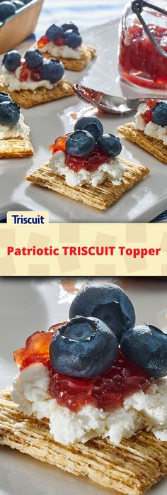 """Need a quick and easy recipe to make """"fireworks"""" on your summer cookout snack spread? Our Patriotic TRISCUIT Topper combines strawberry jam, goat cheese, and blueberries for an All-American flavor explosion. Only takes 10 mins to make 32 toppers!"""
