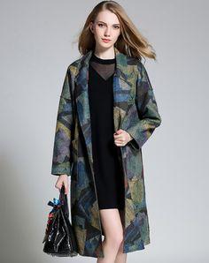 Drop Shoulder Dark Green Printed Front Open Long Coat