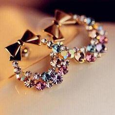 pendents Earrings Imitation Rhinestone Colorful Rhinestone Bow cheerleaders gift  #instagram #love #followme #fashion #tumblr #spring #instalove #onlineshopping #summer #instagood