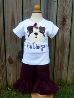 Personalized Football Bulldog Dog Face Applique Shirt or Onesie on Etsy, $25.00
