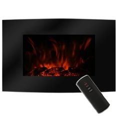 New Log Effect 1000W/2000W LED Wall Mounted Flame&Heat Adjustable Electric Fire Remote Control with Ultra Slim Black Curved Tempered Glass Screen Electric Fires Convector Heater