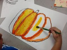 Grade Painted Pumpkins - Make step by step of outlining it orange first then filling w/ yellow Fall Art Projects, School Art Projects, Art School, First Grade Art, 2nd Grade Art, Painting For Kids, Art For Kids, Pumpkin Art, Pumpkin Painting