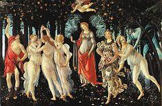 Botticelli, le Printemps  I Le Printemps /I . Tempera sur bois (vers 1478) de Botticelli. (Musée des Offices, Florence.)